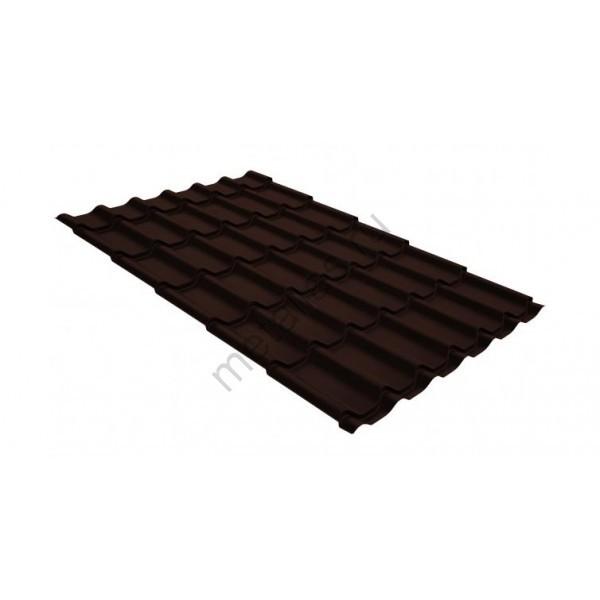 Металлочерепица классик GL 0,5 GreenCoat Pural RR 887 шоколадно-коричневый