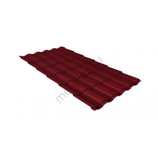 Металлочерепица кредо GL 0,5 Velur20 RAL 3005 красное вино